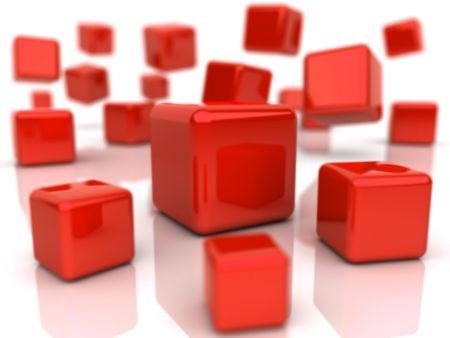 depth: Background with abstract red cubes (depth of field) Stock Photo