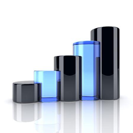 cilindro: Ilustraci�n de vidrio negro y azul ronda barras