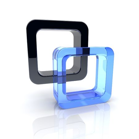 brainteaser: Illustration with union of black and blue glass squares  Stock Photo