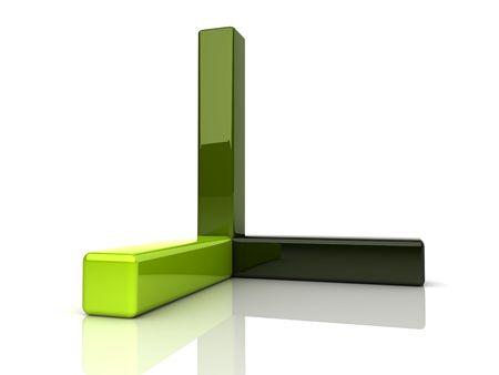 axis: Ilustraci�n de barras tridimensionales verdes abstractas (eje)