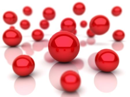 the depth: Abstract background with red spheres (depth of field) Stock Photo