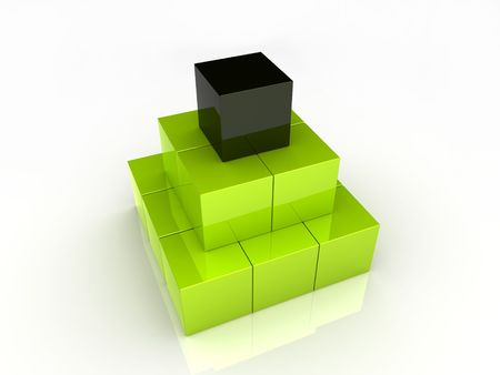 progression: Cubes pyramid (green collection)
