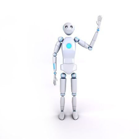 wave hello: Illustration of robot which wave hello on isolated