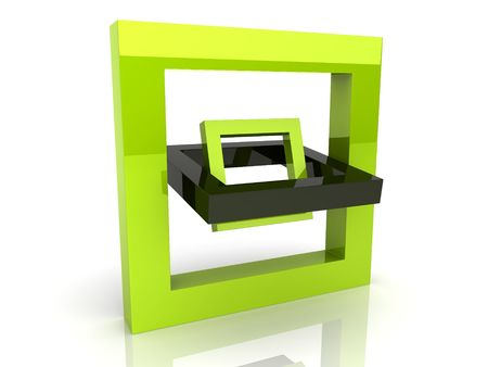rotated: Illustration of abstract rotated frame on reflected