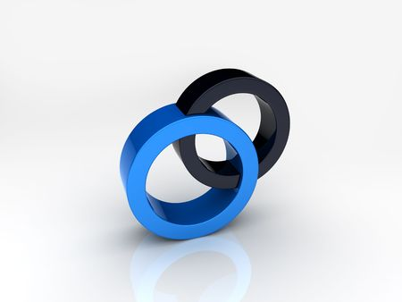 Union of blue and black circles Stock Photo - 6045558