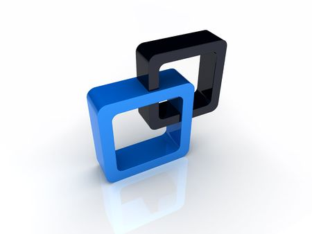 Blue and black square union Stock Photo - 6045685