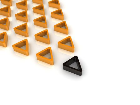 Black triangle and many orange Stock Photo - 6045682