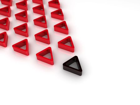 Illustration of main black triangle and red triangles Stock Illustration - 6045689