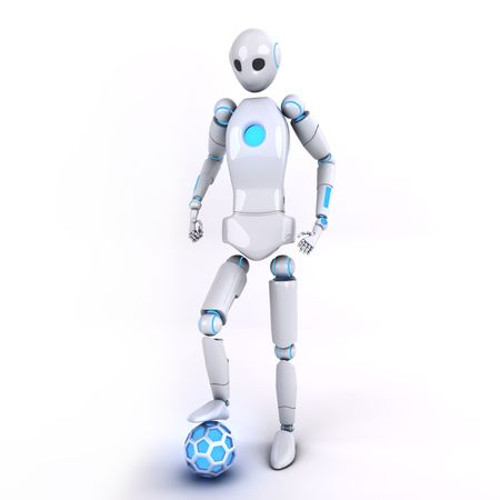 Robot with soccer ball photo