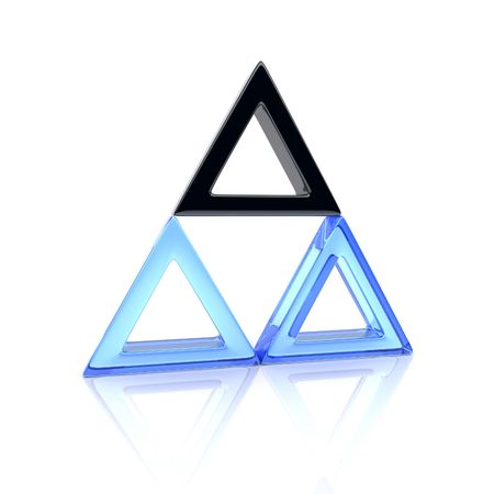 three colors: Illustration of unique black triangle and many glass (leadership concept) Stock Photo