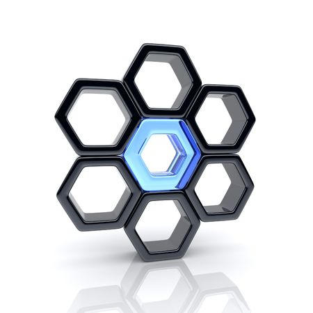 creativity logo: Illustration with unique glass hexagon and many black (leadership and communication concept)