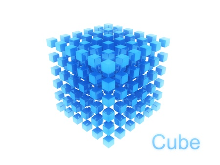 Abstract blue cube structure on white background Stock Photo - 8806097
