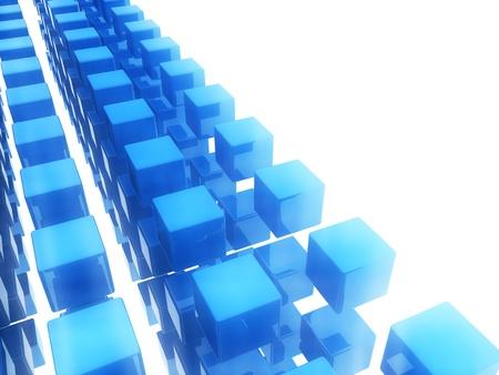 Fondo azul abstracto con cubos en movimiento Foto de archivo - 8806127