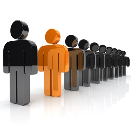 to queue: Illustration with many businessmen and unique orange businessman Stock Photo