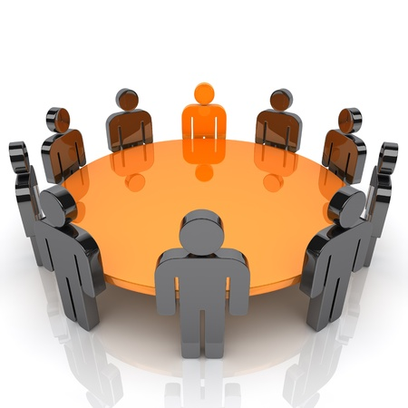 office staff: Illustration of business meeting with staff and leader