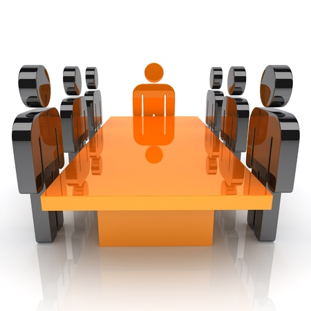 main idea: Illustration with meeting of staff and leader (orange) Stock Photo