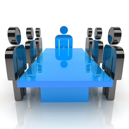 Illustration with meeting of staff and leader (blue) illustration