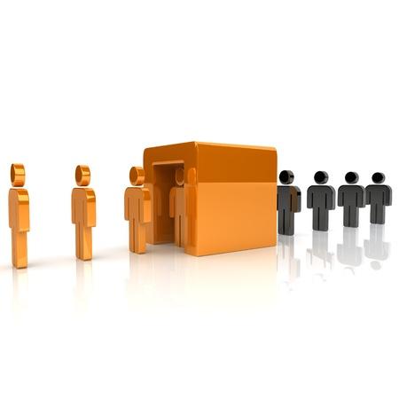 Illustration of transformation with black and orange guys illustration