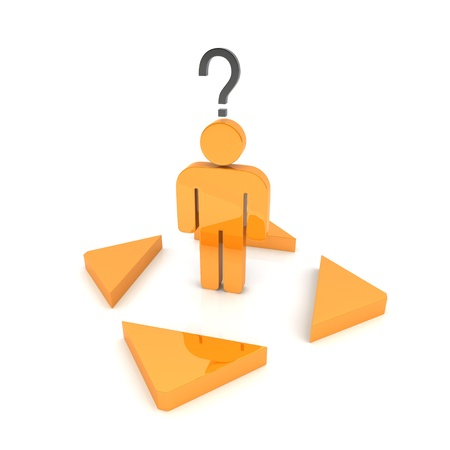 Illustration with confused orange business guy and arrows illustration