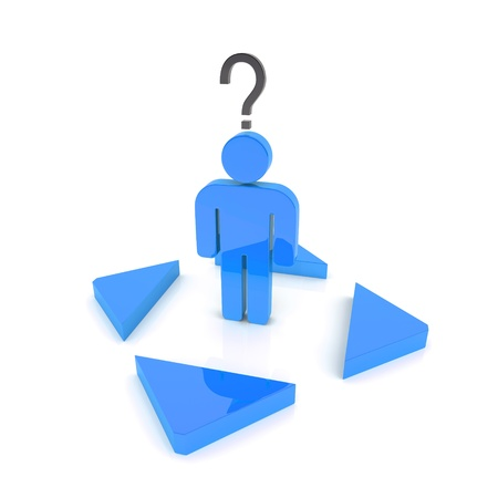 Illustration with confused blue business guy and arrows illustration