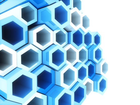 Abstract bright geometrical background with blue hexagons and copyspace photo