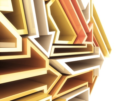 Abstract sport geometrical background with orange and white arrows photo