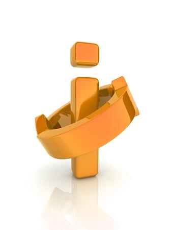 Illustration of  orange reflective letter i(concept of information) illustration