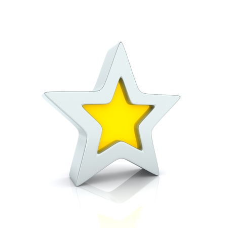 close icon: Illustration of metallic reflective star on white