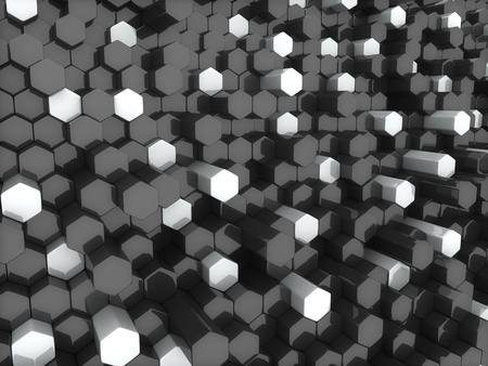 Abstract background with white and black dynamic hexagons photo