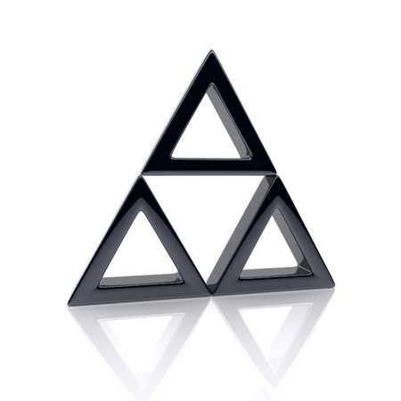 pyramid shape: Illustration of triangle with black elements (leadership concept)