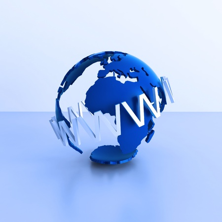 Illustration with concept of web and globe illustration