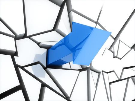 obtain: Illustration of blue arrow and broken white wall Stock Photo