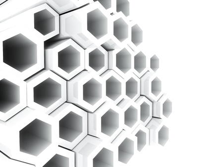 Abstract bright geometrical background with white hexagons and copyspace photo