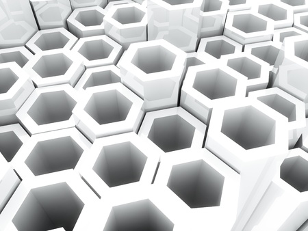Abstract bright geometrical background with white hexagons and copyspace Stock Photo - 9288029