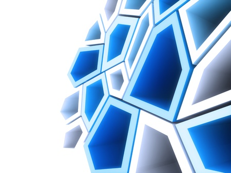 Geometrical background with blue and white shapes photo
