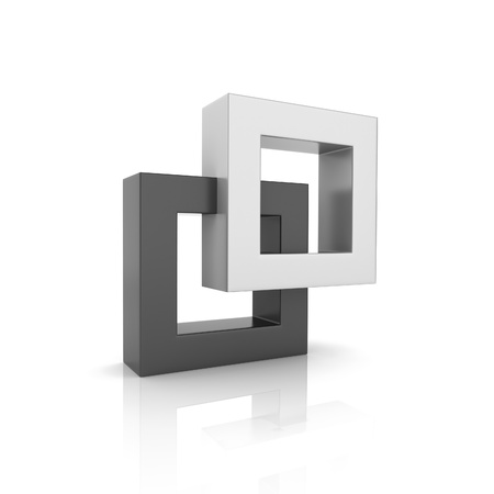 Concept of unity with two frames (black collection) Stock Photo - 9287157