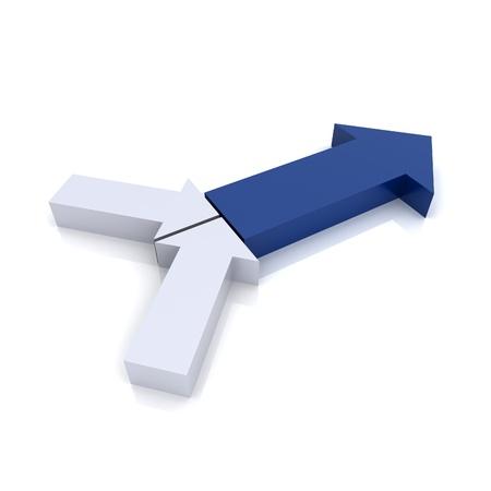 synergy: Concepto de transformaci�n con s�mbolos de flecha met�lico (colecci�n azul) Foto de archivo