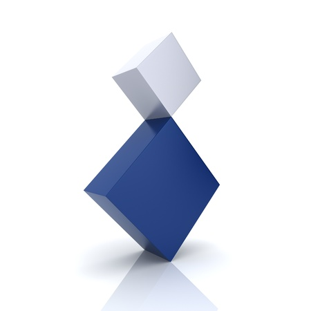 Illustration of two rhombs in concept of balance (blue collection) illustration