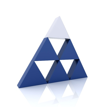 Concept of leadership with silver and blue triangles (blue collection) photo