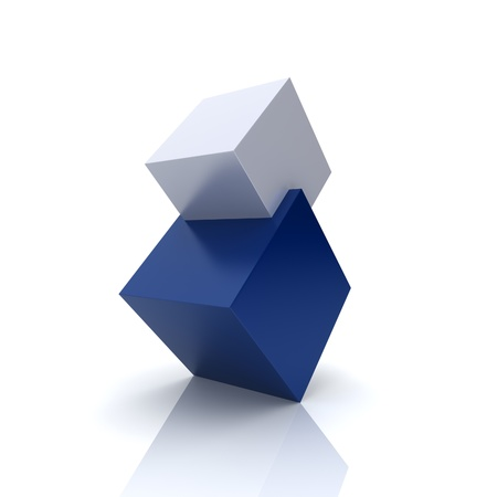 technology agreement: Concept of union with blue and silver cubes (blue collection) Stock Photo