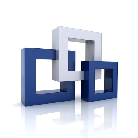 abstract 3d blocks: Concept of unity with 3 frames (blue collection)