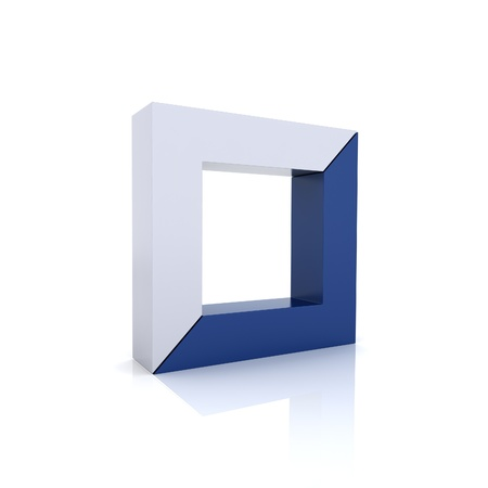 synergism: Concept of unity with frames (blue collection)