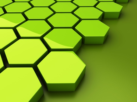 hexagon: Abstract green background with hexagons and place