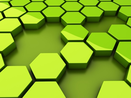 Abstract green background with hexagons and holes photo