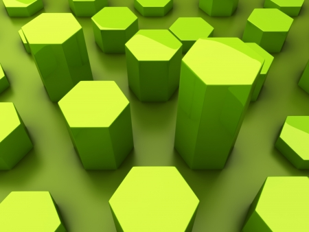 Abstract green background with statistic hexagons Stock Photo
