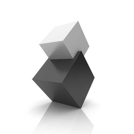 Concept of union with black and silver cubes (black collection) photo