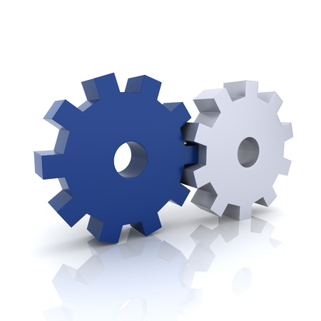 industry concept: Illustration with blue and metallic gears teamwork concept (blue collection) Stock Photo