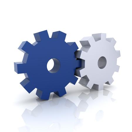 synergy: Ilustraci�n con el concepto de trabajo en equipo de engranajes azul y met�licos (colecci�n azul) Foto de archivo