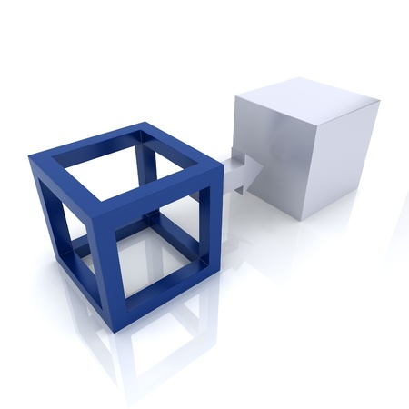 Illustration with two cubes transformation concept (blue collection)