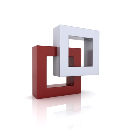 Concept of unity with two frames (red collection) Stock Photo